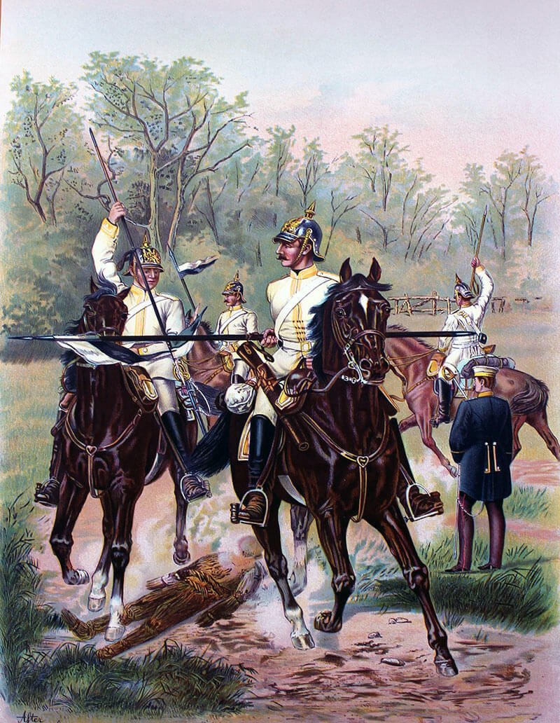 German cuirassier regiment during peace time manoeuvres: Battle of Néry on 1st September 1914 in the First World War