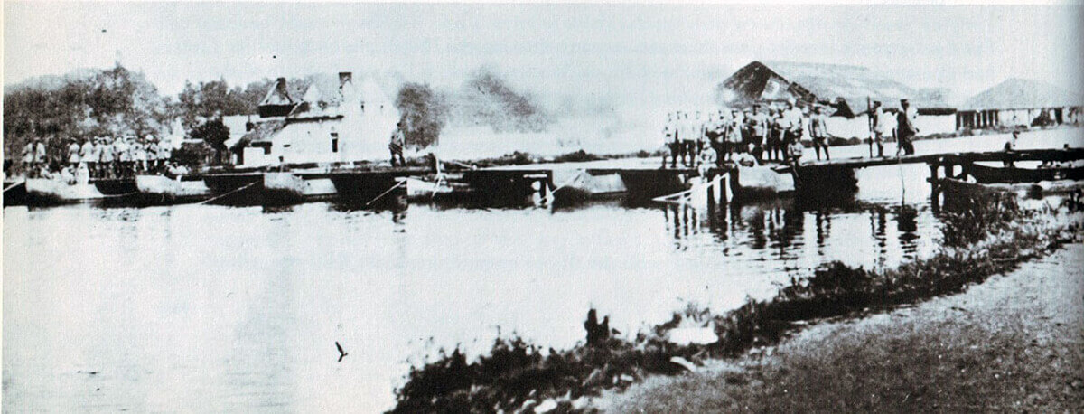 German pontoon bridge in place over the Mons Canal at Jemappes after the Battle of Mons on 23rd August 1914 in the First World War