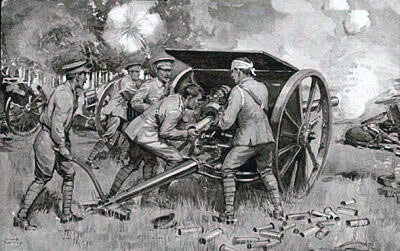 British 18 pounder field guns in action: Battle of Le Cateau on 26th August 1914 in the First World War