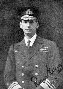 Commodore Roger Keyes RN as Rear Admiral RN in 1918. Keyes commanded the 8th 'Oversea' Submarine Flotilla, based at Harwich and devised the plan for the Heligoland Bight operation. Keyes was present during the Battle of Heligoland Bight on 28th August 1914 in the First World War on HMS Lurcher