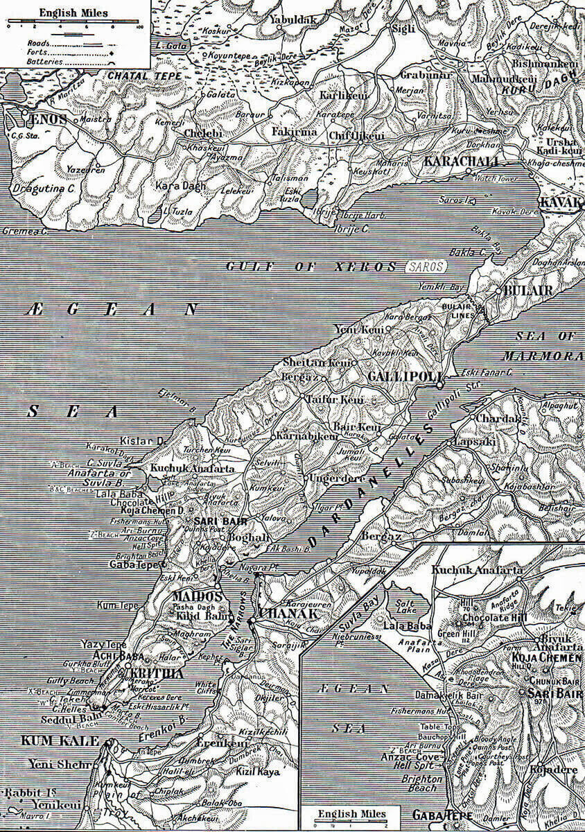 Map of the Gallipoli Peninsula. The inset shows the area of Anzac Cove and Suvla Bay: Gallipoli Part II, March 1915 to January 1916 in the First World War