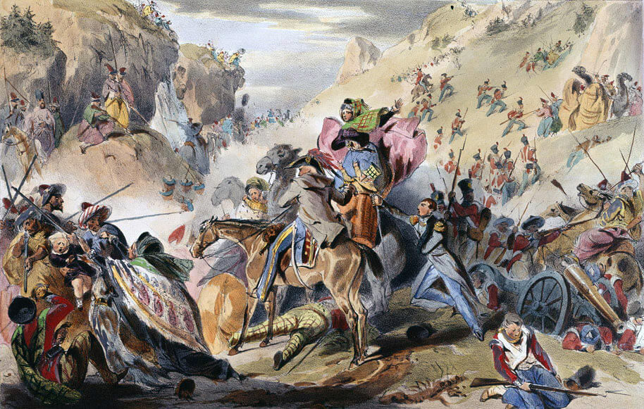 Afghan tribesmen attacking the Anglo-Indian army in the Koord Kabul pass: Battle of Kabul and Retreat to Gandamak 1842 during the First Afghan War