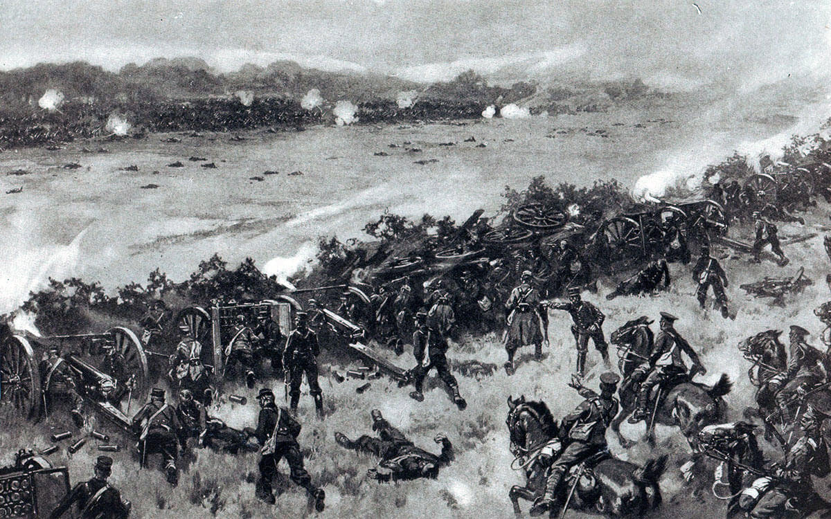 French 75 millimetre guns in action against the Germans: Battle of Le Cateau on 26th August 1914 in the First World War