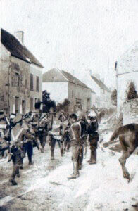 4th (Guards) Brigade passing French cuirassiers (photo by Captain Harry Baird, ADC to General Haig): Battle of the Aisne, 10th to 13th September 1914 in the First World War
