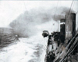 British Destroyer in the Eastern Mediterranean in1915. A substantial flotilla of destroyers supported the attack on the Dardanelles: Gallipoli campaign Part I: the Naval Bombardment, March 1915 in the First World War