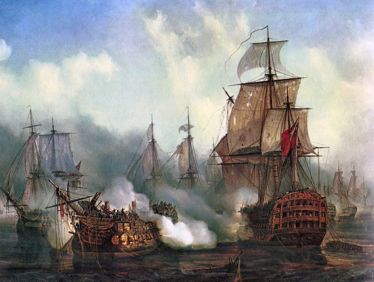 French ship Redoutable dismasted and sinking at the Battle of Trafalgar on 21st October 1805 during the Napoleonic Wars: picture by Auguste Mayer