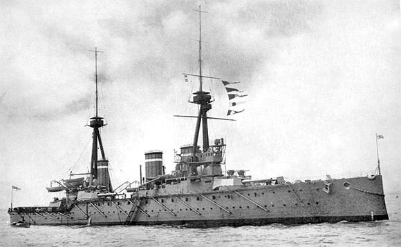 British battle cruiser HMS Invincible, one of the two battle cruisers initially allocated to support the light cruisers, destroyers and submarines conducting the sweep in the Battle of Heligoland Bight on 28th August 1914 in the First World War
