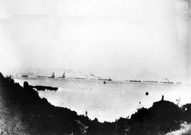 Transports off Anzac Gallipoli under bombardment from Turkish guns on Ari Burnu on 25th April 1915: Gallipoli Part III, ANZAC landing on 25th April 1915 in the First World War