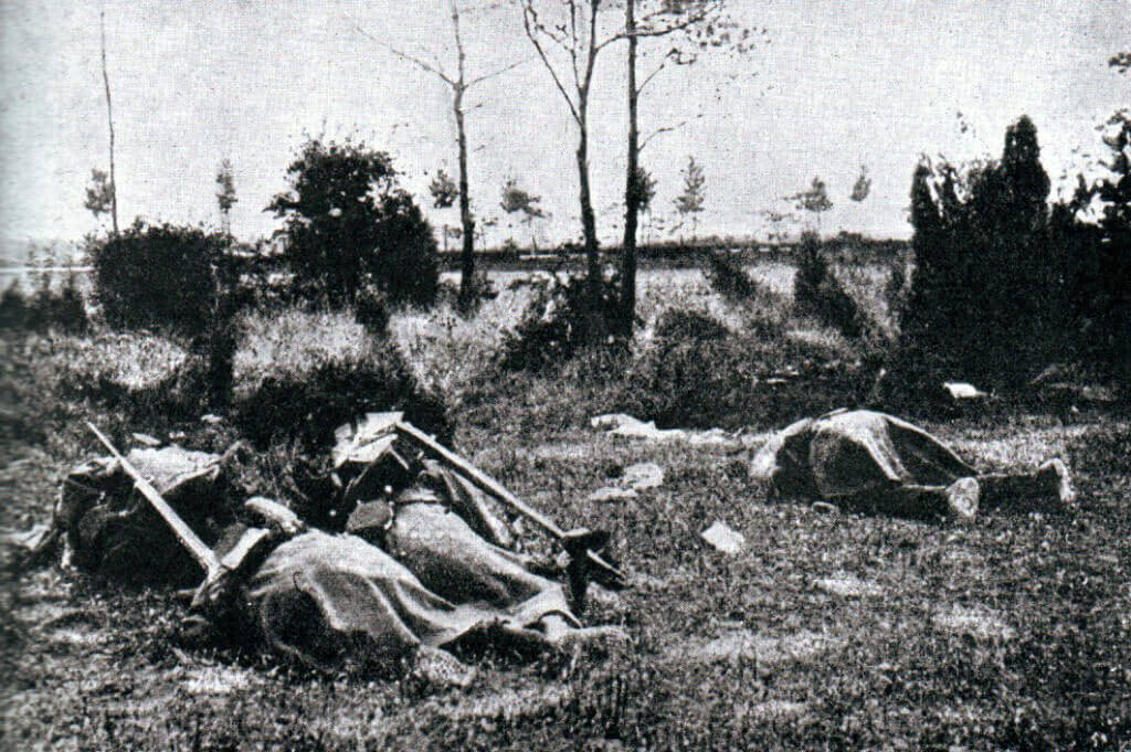 German casualties from machine gun fire:Battle of the Marne, fought from 6th to 9th September 1914, during the First World War