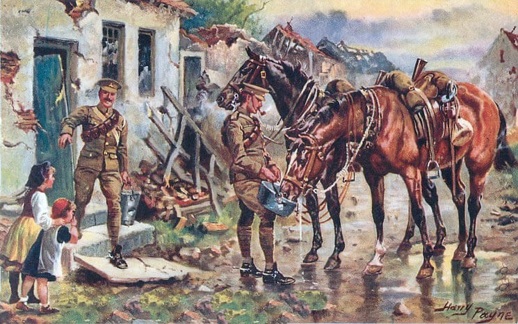 11th Hussars in France: Battle of Néry on 1st September 1914 in the First World War: picture by Harry Payne