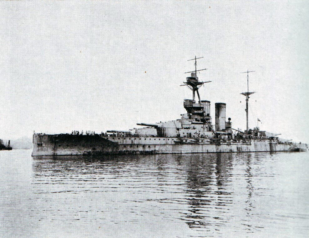 HMS Queen Elizabeth: new British battleship armed with 15 inch guns. Queen Elizabeth was the most powerful battleship in the British Fleet bombarding the Gallipoli Peninsula: Gallipoli campaign Part I: the Naval Bombardment, March 1915 in the First World War