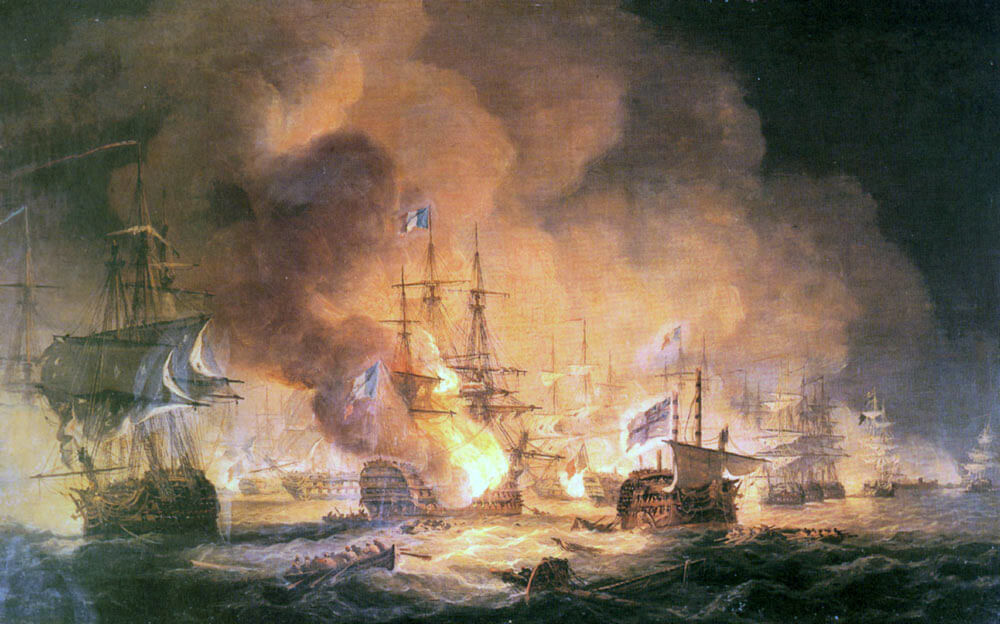 French Flagship L'Orient explodes at the Battle of the Nile on 1st August 1798 in the Napoleonic Wars: picture by Thomas Luny