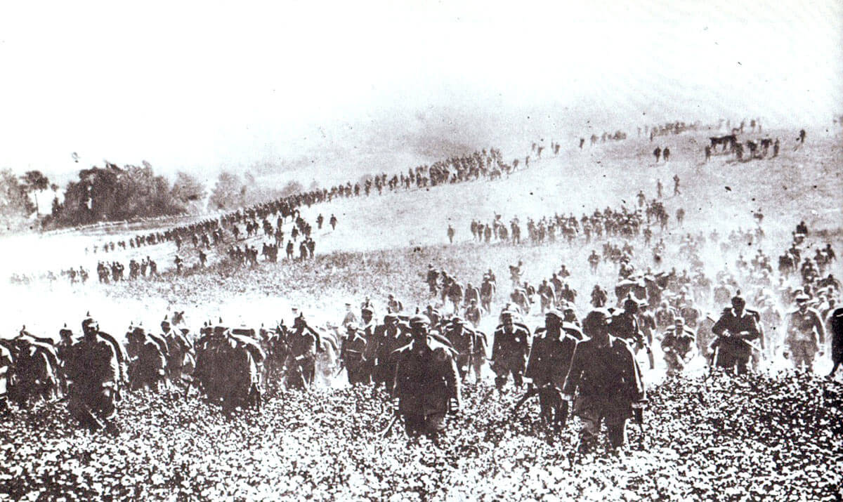 German infantry advancing up a hillside: Battle of Le Cateau on 26th August 1914 in the First World War
