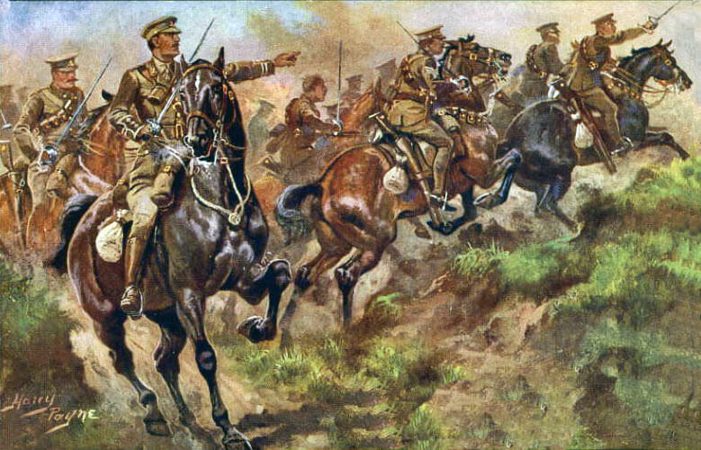 11th Hussars at the Battle of Néry on 1st September 1914 in the First World War: picture by Harry Payne