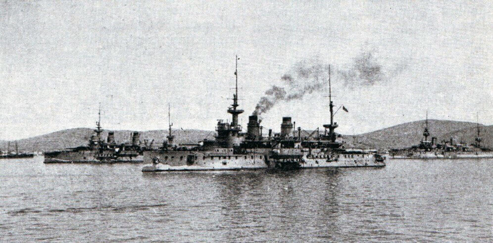 French battleships in Mudros Harbour, Lemnos in 1915: St Louis, Charlemagne and Suffren. These ships took part in the bombardment of the Turkish defences in the Dardanelles. Suffren suffered significant damage from Turkish gunfire on 18th March 1915: Gallipoli campaign Part I: the Naval Bombardment, March 1915 in the First World War