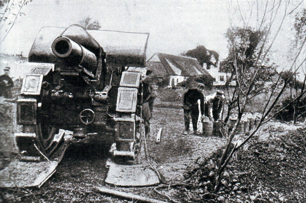 German heavy howitzer during the Battle of the Aisne, 10th to 13th September 1914 in the First World War