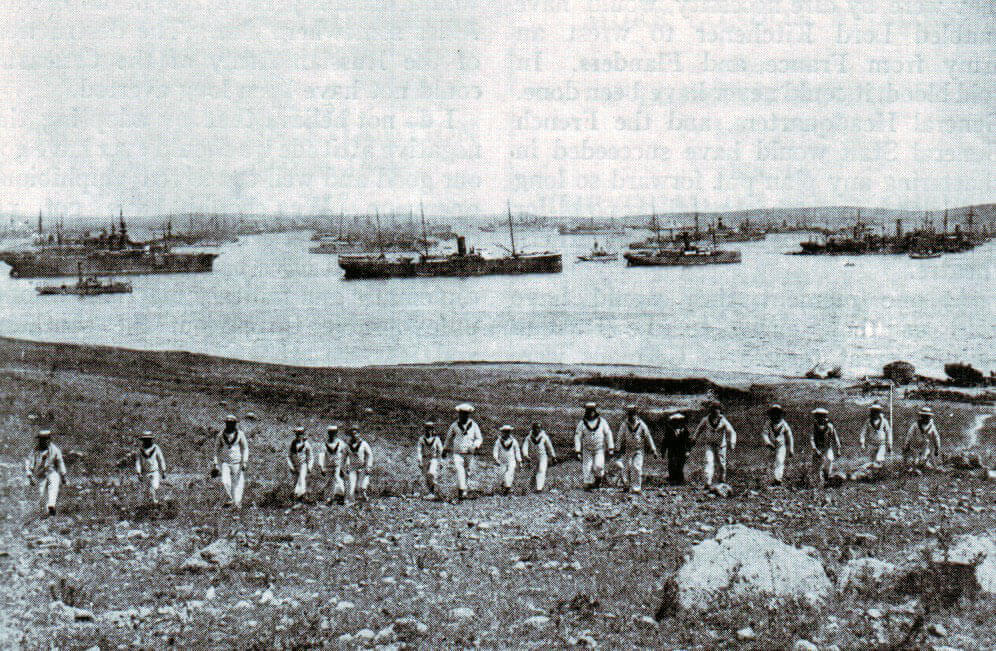 Mudros harbour on the Island of Lemnos, base for the British and French operations against the Turks on the Gallipoli Peninsula: Gallipoli Part II, March 1915 to January 1916 in the First World War