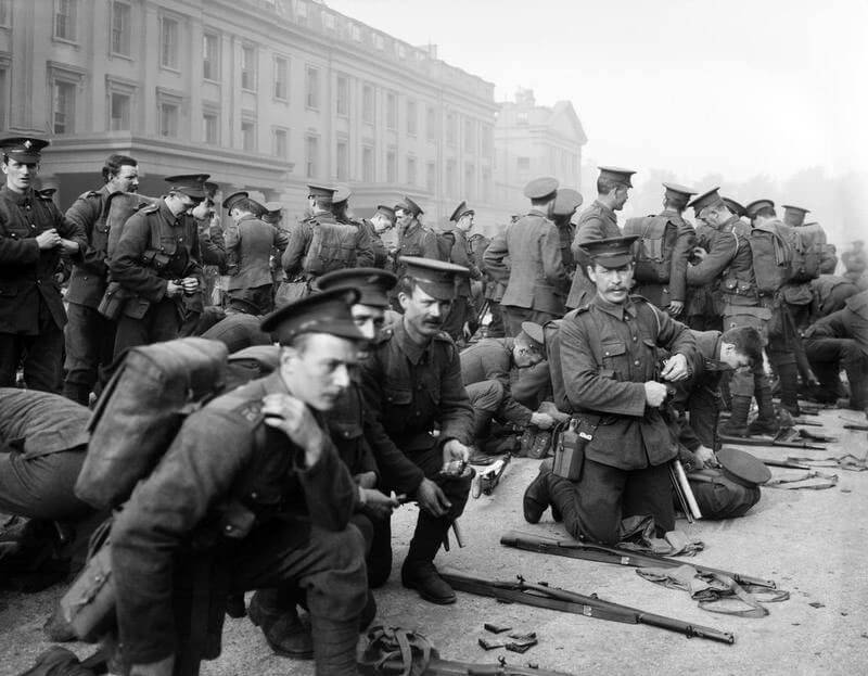 1st Battalion Irish Guards preparing to leave Wellington Barracks for France in August 1914: Battle of Landrecies on 25th August 1914 in the First World War