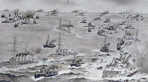 British post card commemorating Battle of Heligoland Bight on 28th August 1914 in the First World War