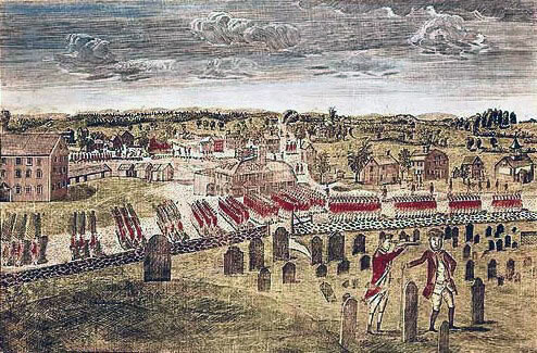 Attack on Concord: Battle of Lexington and Concord 19th April 1775 American Revolutionary War: picture by Amos Doolittle