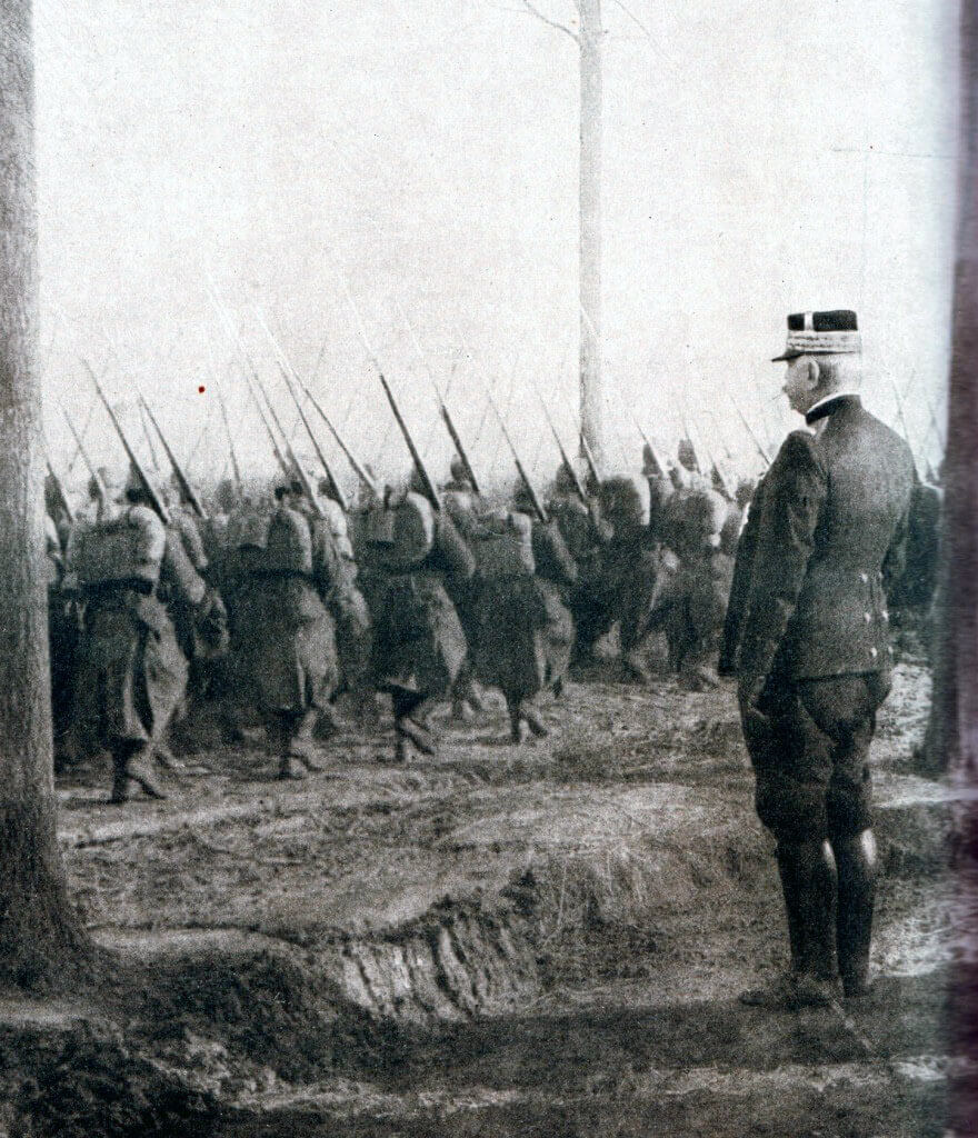 General Joffre, the French Commander-in-Chief, reviewing French troops: Battle of the Aisne, 10th to 13th September 1914 in the First World War