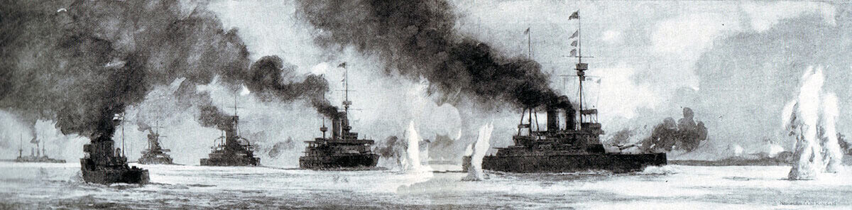 The British and French Fleets attacking the Turkish fortifications in the Dardanelles waterway: Gallipoli campaign Part I: the Naval Bombardment, March 1915 in the First World War