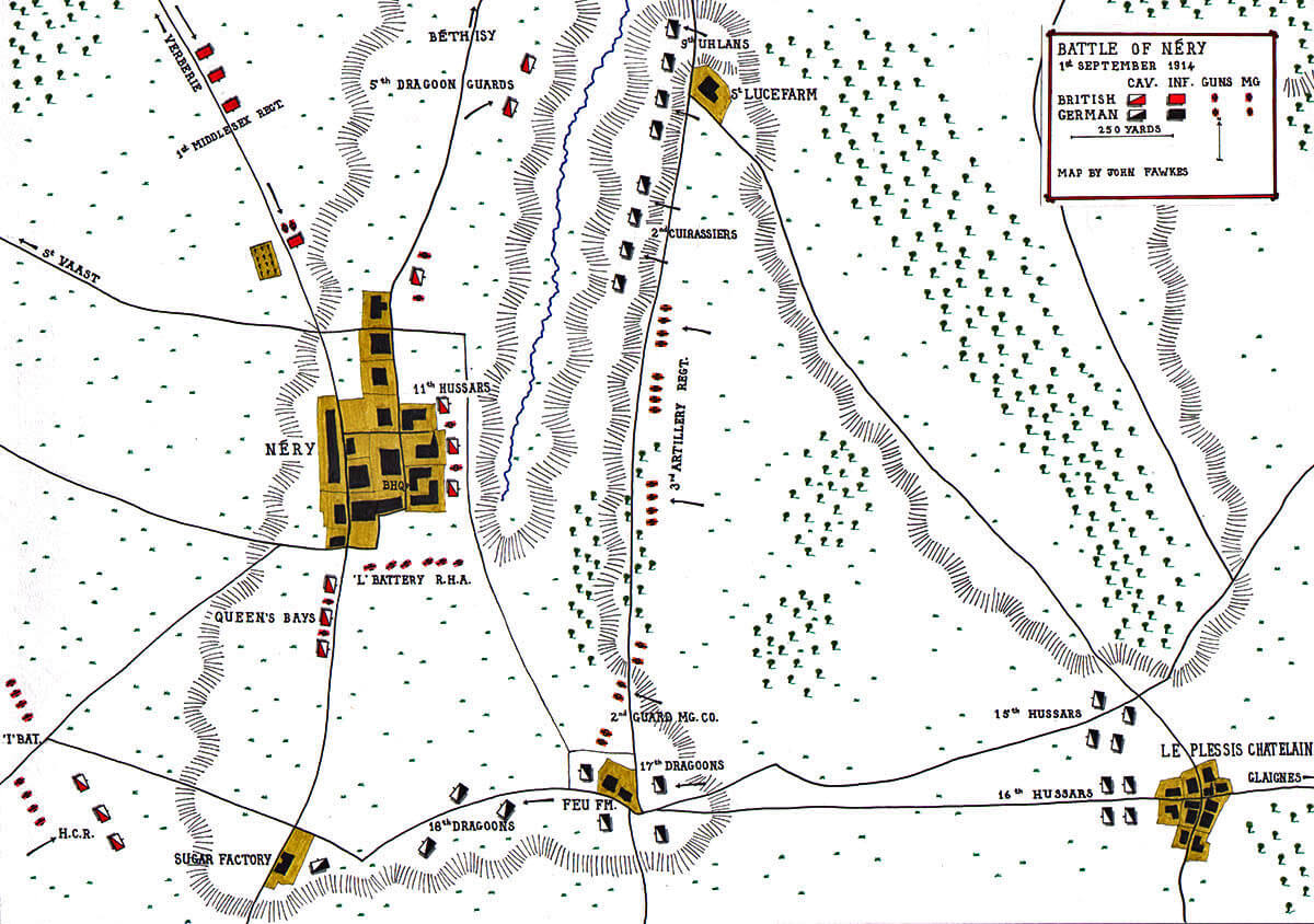 Map of the Battle of Néry on 1st September 1914 in the First World War: Map by John Fawkes