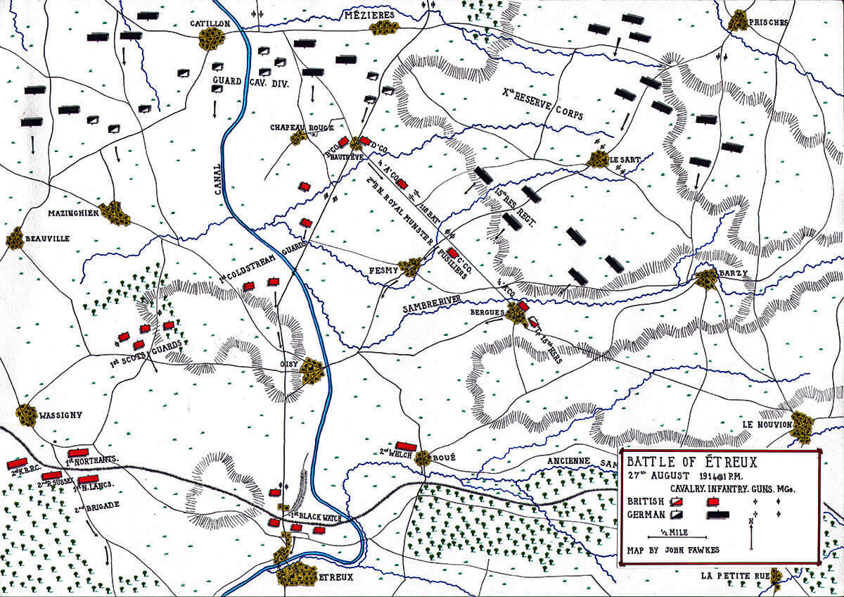 Battle of Étreux at 1pm on 27th August 1914 in the First World War: Map by John Fawkes