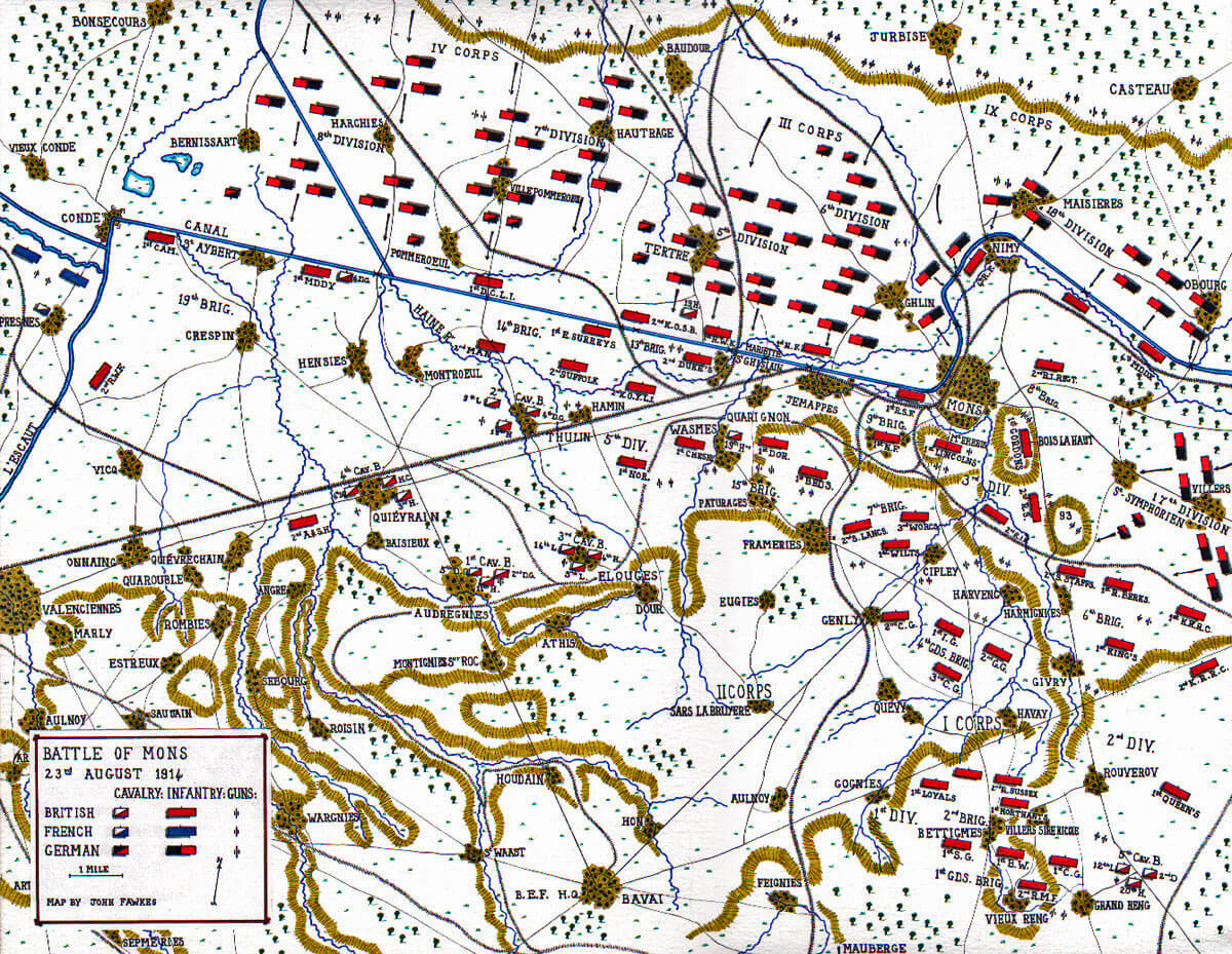 Map of the Battle of Mons 23rd August 1914 in the First World War: map by John Fawkes