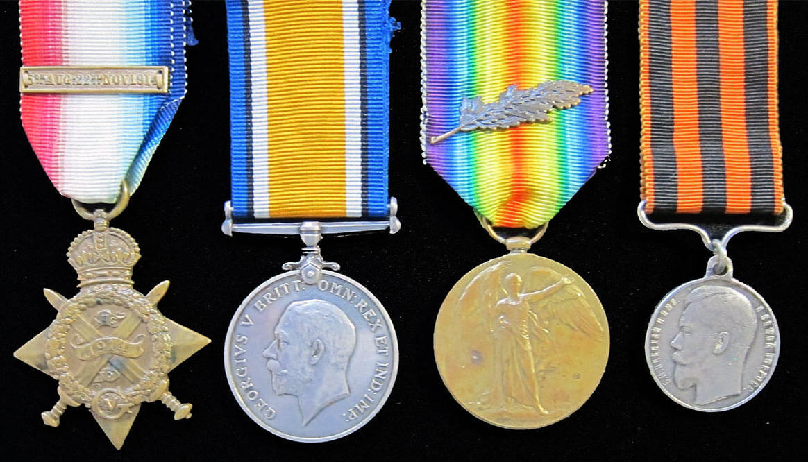 Medals of Bandsman Gillan, 2nd Connaught Rangers: 1914 Star and Bar, British War Medal, Victory Medal and Russian Order of St George (3rd Class): Battle of Le Grand Fayt on 26th August 1914 in the First World War