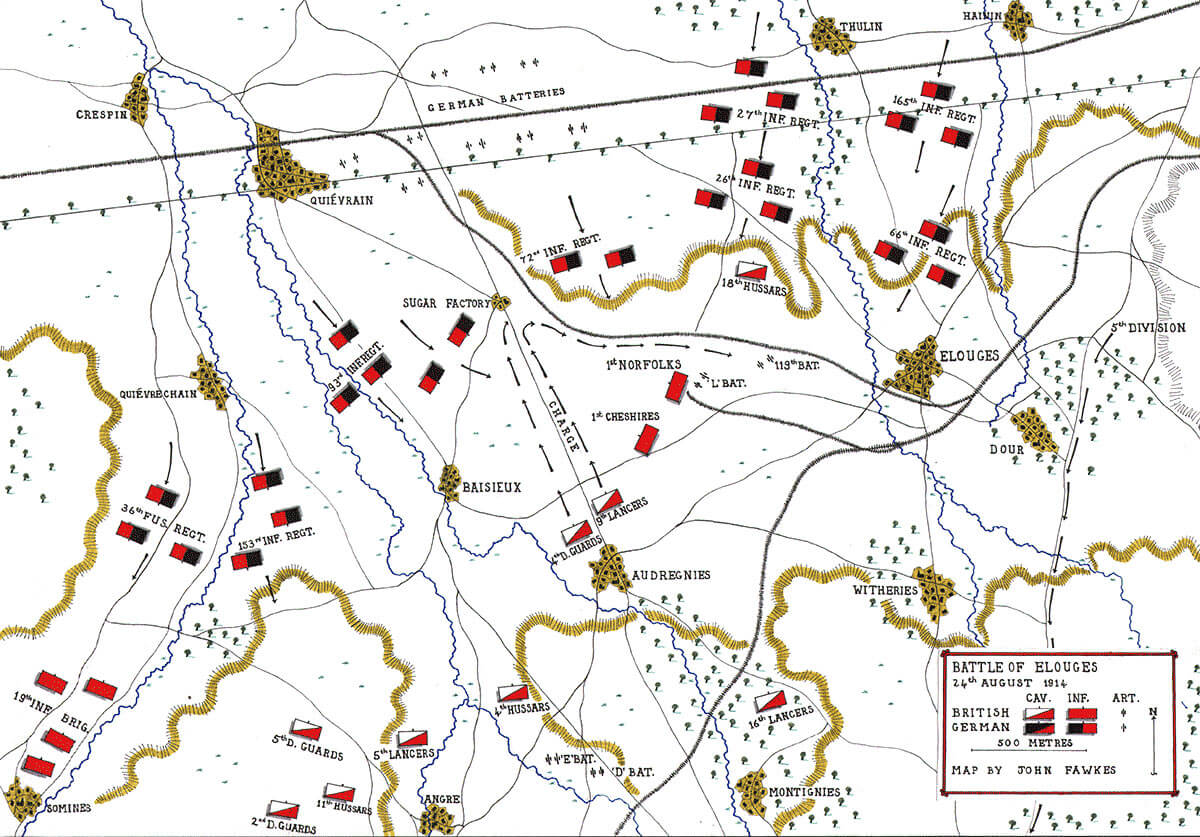 Map of the Battle of Elouges 24th August 1914: First Day of the Retreat from Mons and the Battle around Elouges and Audregnies, fought on 24th August 1914 in the First World War: map by John Fawkes
