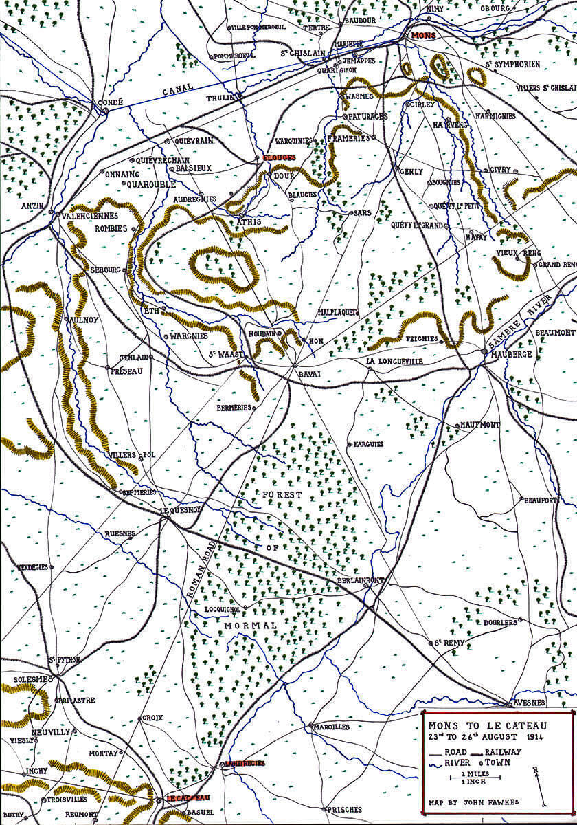 Map of the British 'Mons to Le Cateau' march: Battle of Le Cateau on 26th August 1914 in the First World War: Map by John Fawkes