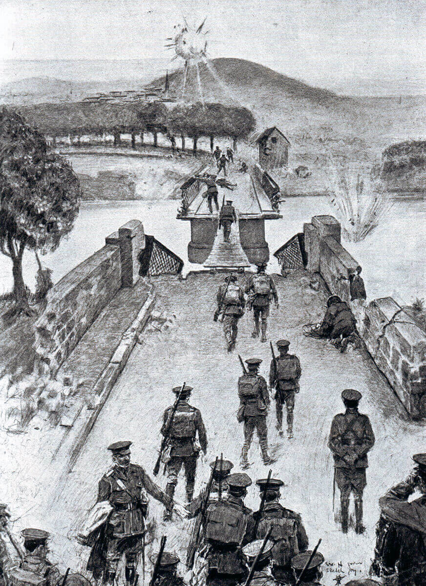 British 8th Brigade crossing the broken bridge over the Aisne at Vailly on 13th September 1914 by the single plank: Battle of the Aisne, 10th to 13th September 1914 in the First World War