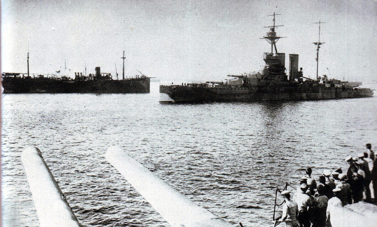 HMS Queen Elizabeth, the British flag ship, leaving Mudros on the Greek Island of Lemnos for the Gallipoli landings on 24th April 1915: Gallipoli Part II, March 1915 to January 1916 in the First World War