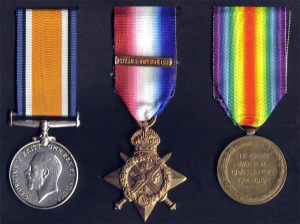 'Pip, Squeak and Wilfred': The 1914 Star (in the centre), the British War Medal and the Victory Medal awarded to Private Conway, 1st Battalion the Cheshire Regiment: Battle of Mons on 23rd August 1914 in the First World War