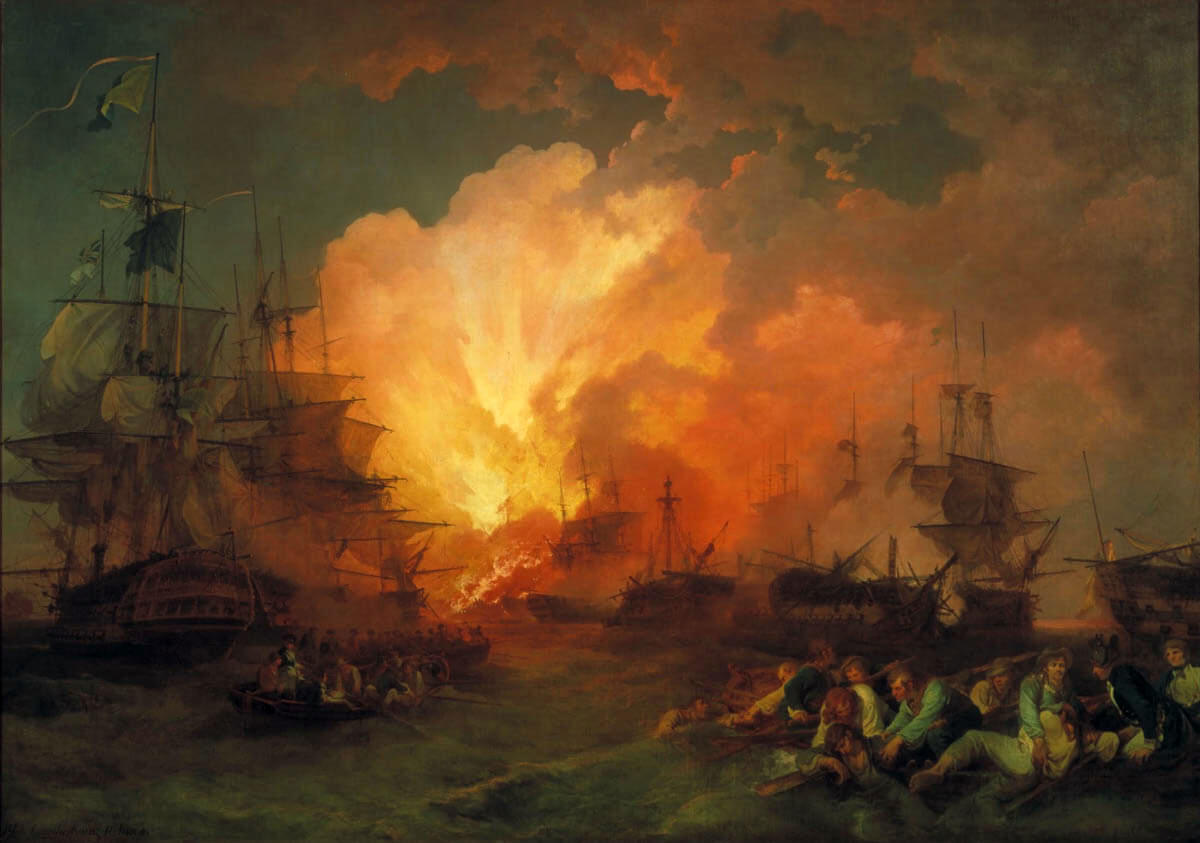 French Flagship L'Orient explodes at the Battle of the Nile on 1st August 1798 in the Napoleonic Wars: picture by Philip James de Loutherbourg