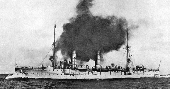 German light cruiser SMS Frauenlob, one of the German ships that attacked the British destroyers in the Battle of Heligoland Bight on 28th August 1914 in the First World War