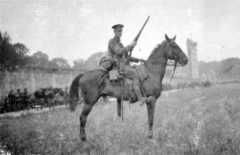 British soldier from 2nd Cavalry Brigade on a German horse captured during the Battle of Néry on 1st September 1914 in the First World War