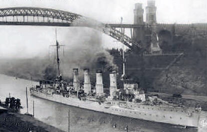 German light cruiser SMS Stralsund, passing through the Kiel Canal. Stralsund was one of the German ships that attacked the British destroyers in the Battle of Heligoland Bight on 28th August 1914 in the First World War