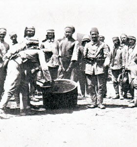 Turkish troops on Gallipoli serving out rations