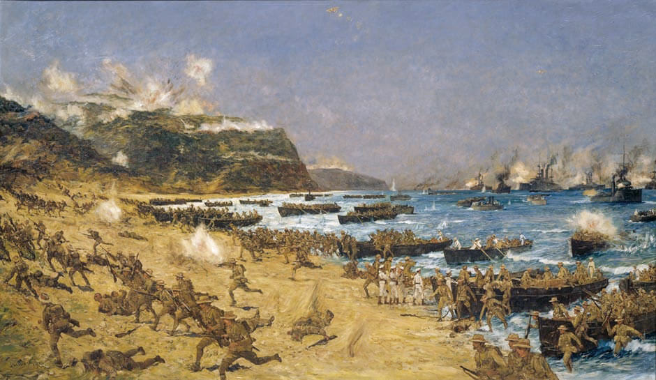 Australian and New Zealand troops landing at Anzac Cove, Gallipoli, on 25th April 1915: picture by Charles Edward Dixon: Gallipoli Part III, ANZAC landing on 25th April 1915 in the First World War