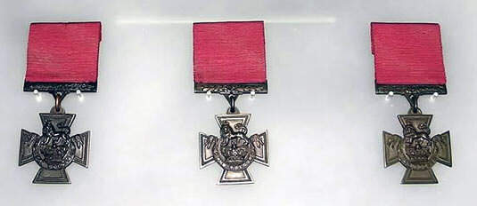 Victoria Crosses of Bradbury, Dorrell and Nelson held in the Imperial War Museum: Battle of Néry on 1st September 1914 in the First World War