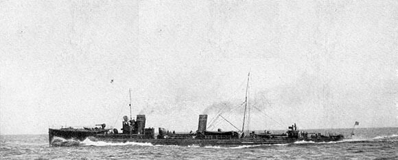 German Torpedo Boat V187, sunk by Blunt's destroyers during the westward sweep in the Battle of Heligoland Bight on 28th August 1914 in the First World War