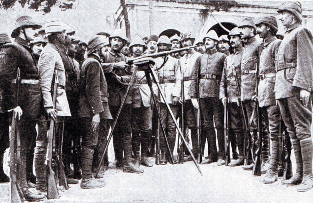 Turkish troops being instructed in the use of the German service rifle: Gallipoli Part II, March 1915 to January 1916 in the First World War