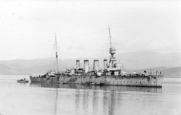 British light cruiser HMS Lowestoft, part of Commodore Goodenough's light cruiser squadron in the Battle of Heligoland Bight on 28th August 1914 in the First World War