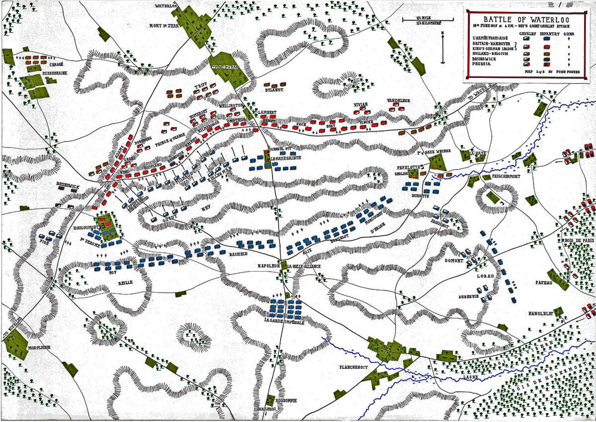 Map of the Battle of Waterloo at 4pm on 18th June 1815: Ney's Great Cavalry Attack: map 2 by John Fawkes