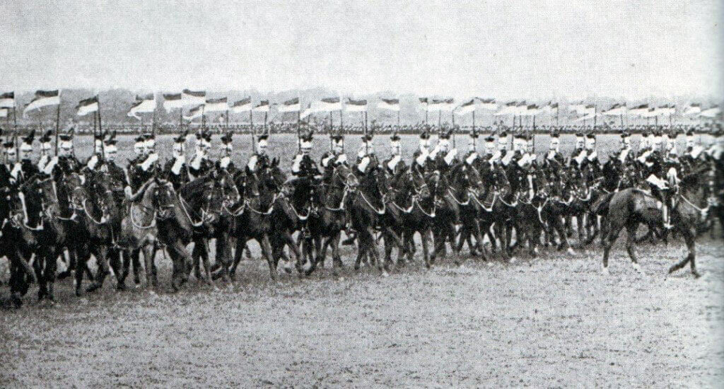 The British 5th Lancers in review at Aldershot before the war: Battle of the Marne, fought from 6th to 9th September 1914, during the First World War