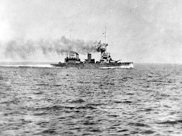 British battle cruiser HMS New Zealand during the Battle of Heligoland Bight on 28th August 1914 in the First World War
