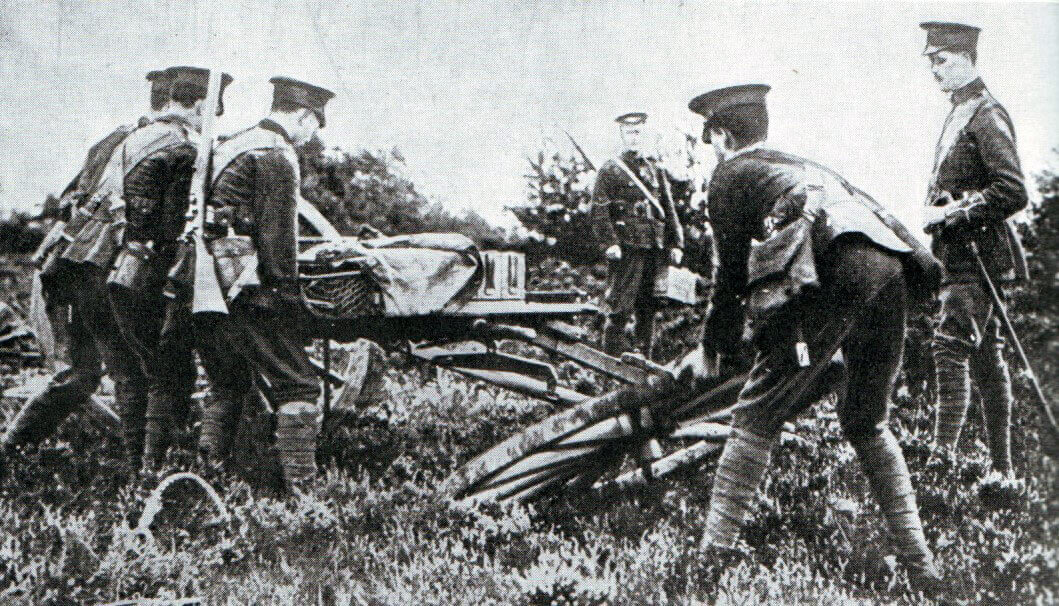 British infantry assembling a machine gun for action during the Battle of the Aisne, 10th to 13th September 1914 in the First World War