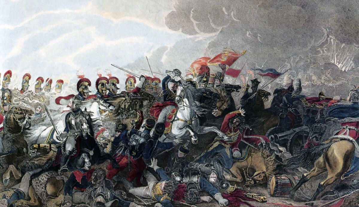 Charge of the British Life Guards at the Battle of Waterloo on 18th June 1815: picture by Luke Clennel